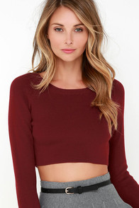 Glamorous Coast to Boast Burgundy Crop Sweater at Lulus.com!