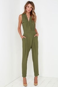 You Send Me Olive Green Jumpsuit at Lulus.com!