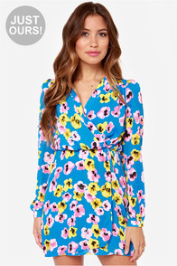 LULUS Exclusive Fleur-ish and Prosper Blue Floral Print Dress at Lulus.com!