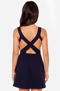 Flirt Alert Navy Blue Dress at Lulus.com!