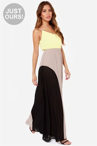 LULUS Exclusive By Your Side Yellow Color Block Maxi Dress at Lulus.com!