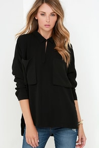 Fast Forward Black Long Sleeve Top at Lulus.com!