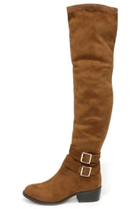 Ancient Cities Tan Suede Over the Knee Boots at Lulus.com!