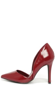 Arrive on the Scene Red Patent D'Orsay Pumps at Lulus.com!