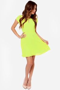 Lost in the Light Chartreuse Dress at Lulus.com!