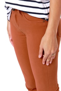 Billabong Peddler Brown Skinny Pants at Lulus.com!