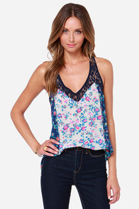 Mixed Media Navy Blue Floral Print Tank Top at Lulus.com!