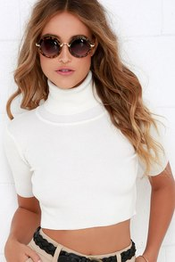 Glamorous Pep Right Up Cream Turtleneck Crop Top at Lulus.com!