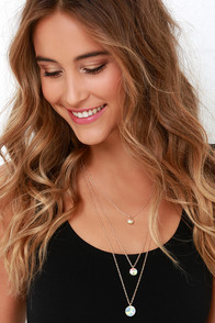 Celestial Droplets Gold Rhinestone Necklace Set at Lulus.com!
