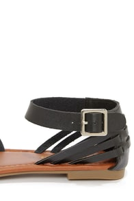 City Classified Jowl Black Huarache Ankle Strap Sandals at Lulus.com!