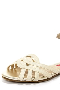 C Label Lili 1 Nude and Gold Ankle Strap Sandals at Lulus.com!