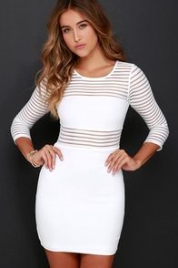 Perfect Mesh Ivory Bodycon Dress at Lulus.com!