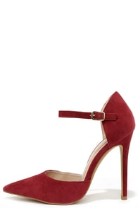 Got It Bad Wine Red Suede Ankle Strap Heels at Lulus.com!
