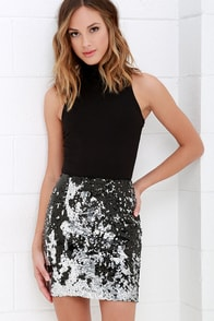 Sequin Siren Silver and Black Sequin Skirt at Lulus.com!