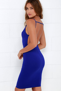 A Little Louder Cobalt Blue Backless Midi Dress at Lulus.com!