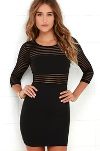 Perfect Mesh Black Bodycon Dress at Lulus.com!