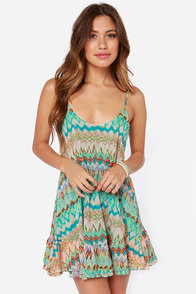 Big Sur Turquoise Print Dress at Lulus.com!