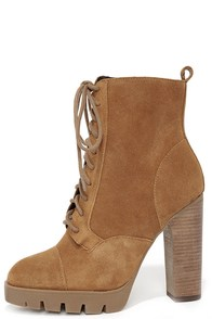 Report Signature Pommel Tan Suede Leather High Heel Boots at Lulus.com!