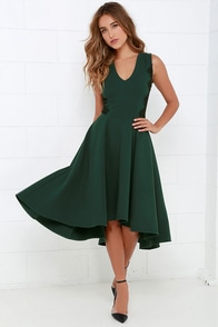 Hazel Room Service Dark Green Lace Midi Dress at Lulus.com!