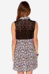 Lucca Couture Skate Park Black Floral Print Dress at Lulus.com!