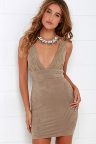 Smooth Splendor Brown Suede Bodycon Dress at Lulus.com!
