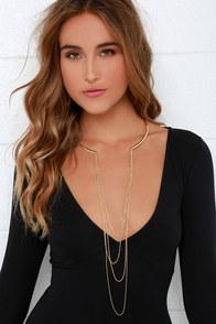 Collar Number Nine Gold Collar Necklace at Lulus.com!