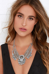 Fortune Hunter Silver and Rhinestone Statement Necklace at Lulus.com!