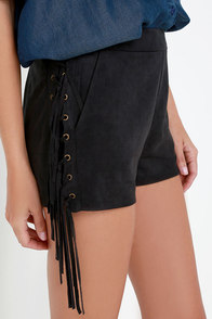 Ace of Suede Washed Black Suede Shorts at Lulus.com!