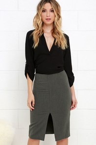 Perfect Penmanship Grey Pencil Skirt at Lulus.com!