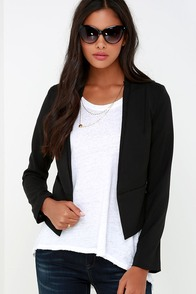 Business Trip Black Cropped Blazer at Lulus.com!