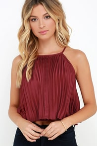 Matinee Movie Wine Red Pleated Crop Top at Lulus.com!