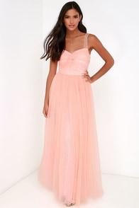 Garden Tulle Peach Maxi Dress $98.00 AT vintagedancer.com