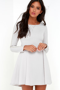 Hello There Light Grey Long Sleeve Beaded Dress at Lulus.com!