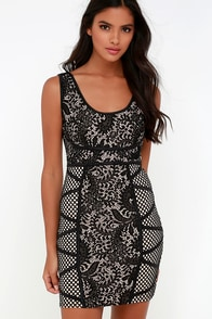 Wink of an Eye Beige and Black Lace Bodycon Dress at Lulus.com!