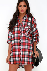 Pacific Forest Red Plaid Shirt Dress at Lulus.com!