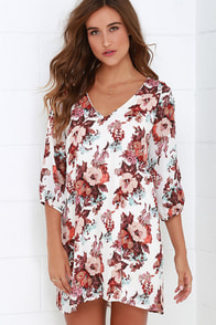 Shifting Dears Ivory Floral Print Dress at Lulus.com!