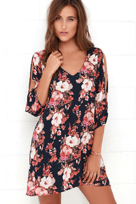 Shifting Dears Navy Blue Floral Print Dress