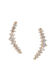 Curve Sensation Gold Rhinestone Earrings at Lulus.com!