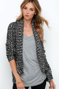Olive & Oak High Beams Black and Ivory Cardigan Sweater at Lulus.com!