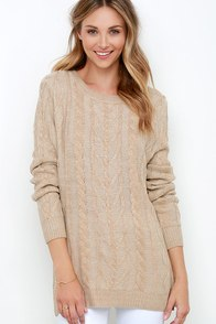 Game Day Beige Cable Knit Sweater at Lulus.com!