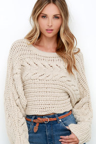 Hearth Warming Beige Cable Knit Crop Sweater at Lulus.com!
