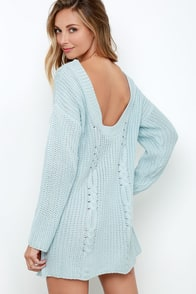 Somedays Lovin' Ralphie Light Blue Sweater Dress at Lulus.com!