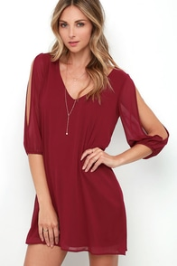 Shifting Dears Wine Red Long Sleeve Dress