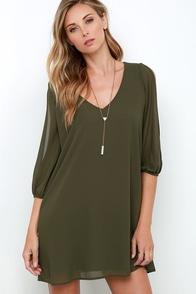 Shifting Dears Olive Green Long Sleeve Dress at Lulus.com!