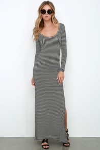 Amuse Society Camille Black and Ivory Striped Maxi Dress at Lulus.com!