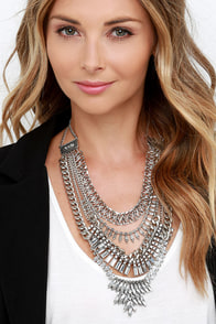 Glitz All Good Silver Rhinestone Statement Necklace at Lulus.com!