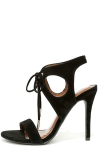 It's My Party Black Lace-Up Heels