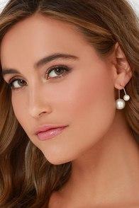 Elegant Help It Gold and Pearl Peekaboo Earrings at Lulus.com!