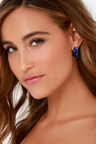 Glamor Hour Blue Rhinestone Peekaboo Earrings at Lulus.com!
