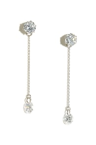 Studly Silver Rhinestone Earrings at Lulus.com!